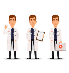 Young professional doctor set vector