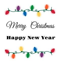 Christmas lights card vector image