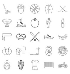 exercise icons set outline style vector image