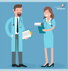 flat design doctor and nurse vector image