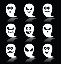 Halloween ghost icons set on black vector