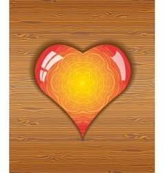 Heart on wood texture vector image vector image