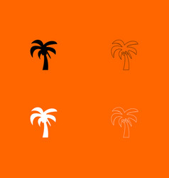 palm black and white set icon vector image vector image