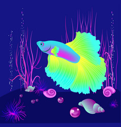 realistic fish on the dark blue beckgound vector image vector image