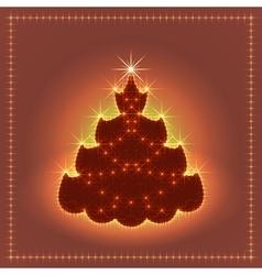 Shiny neon Christmas tree Xmas card New year vector image