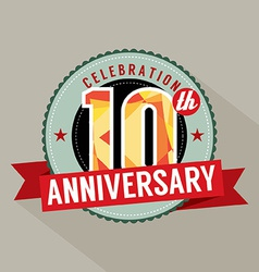 10th Years Anniversary Celebration Design vector image