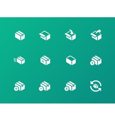 Box icons on green background vector image vector image