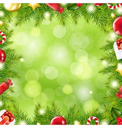 Christmas Tree Border With Blur vector image