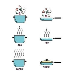 Color cooking line icons set vector image
