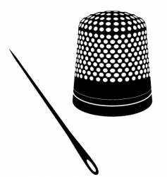 cute thimble and needle vector image vector image