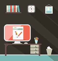 Flat Design Retro Office Room vector image vector image
