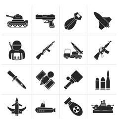 Silhouette Army weapon and arms Icons vector image vector image