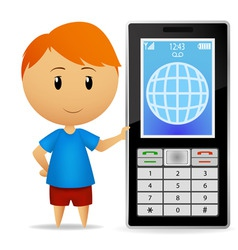 boy with cell phone vector image