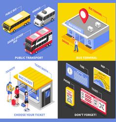 bus terminal isometric design concept vector image