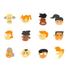 color cartoon people face icons set vector image vector image