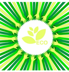 hands take care eco vector image vector image