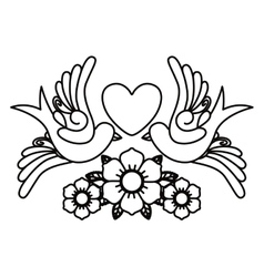 heart and birds tattoo isolated icon design vector image vector image
