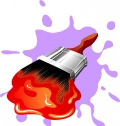 paint brush and paint vector image vector image