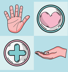 set hand and cross with heart emblem vector image