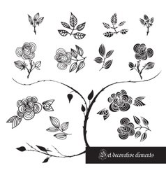 Set of decorative elements roses and leaves vector image vector image