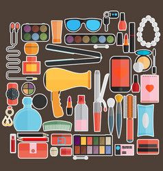 tools for makeup flat design vector image vector image