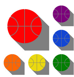 basketball ball sign set of red vector image