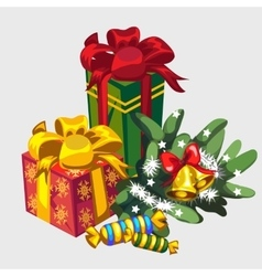 Christmas wreath gifts and candies holiday icon vector image