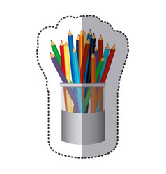 color pencils color inside the butter jar icon vector image