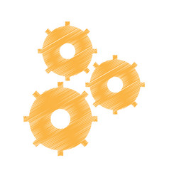drawing gear wheel team work vector image