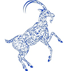 floral goat vector image