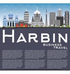 Harbin Skyline with Gray Buildings vector image vector image