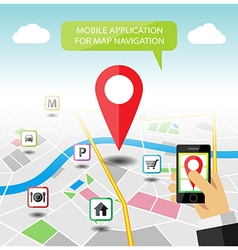 Navigation map mobile application banner vector image vector image