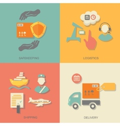 set of logistics safekeeping delivery shipping vector image