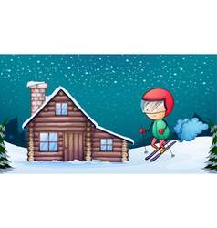 a boy and a house vector image