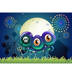 A scary monster with skull at the carnival vector