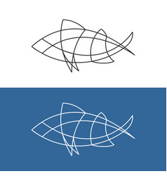 abstract fish line logo simple elegant style fish vector image