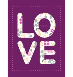 abstract pink yellow and gray leaves love text vector image