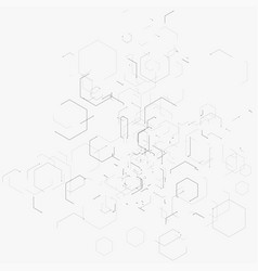 Abstract with hexagons lines vector