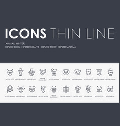 Animals hipsters thin line icons vector