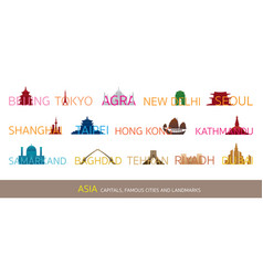 asia cities landmarks with text or word vector image