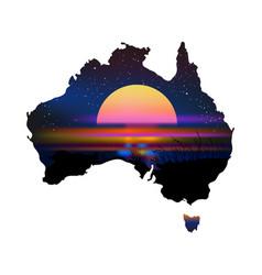 Australia aboriginal continent with sunset vector