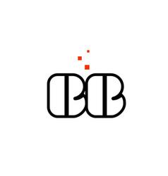 Bb b b black white red alphabet letter vector