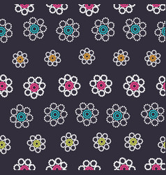 beautiful white geometric flowers with colorful vector image