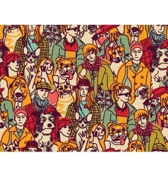 Big group people and pets color seamless pattern vector image