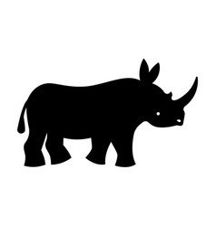 Black rhinoceros silhouette vector