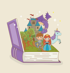 book open with fairytale castle with dragon and vector image