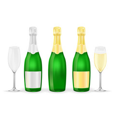 bottles and glasses of sparkling wine or champagne vector image