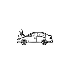 broken car with open hood and steam hand drawn vector image
