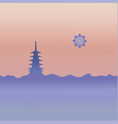 Buddhism temple and symbol vector