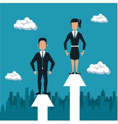 Business couple on arrow growing vector
